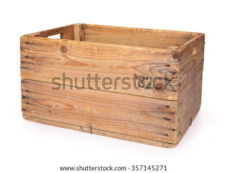 Wooden crate. Contains clipping path. - stock photo
