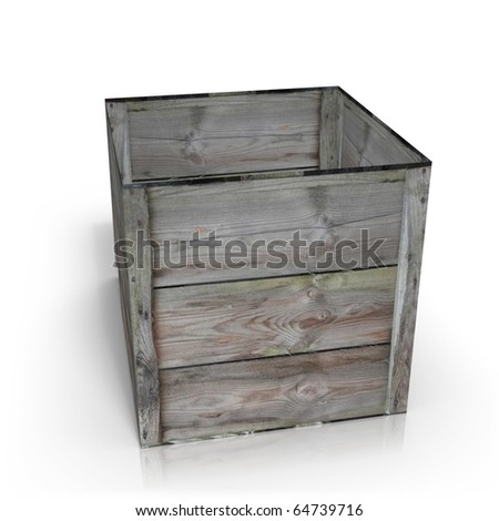 Wooden crate in perspective