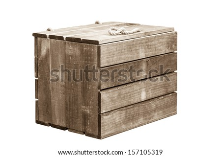 Wooden crate on isolate white background - stock photo