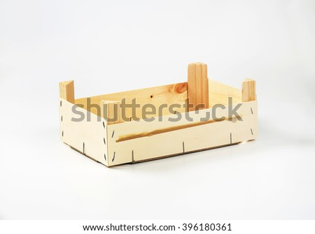 Wooden crate on white background - stock photo