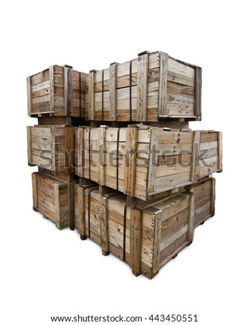 Wooden crates for transportation  -  white background  - stock photo