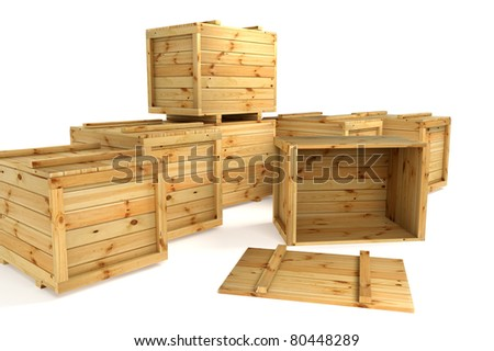 Wooden crates isolated on white - stock photo