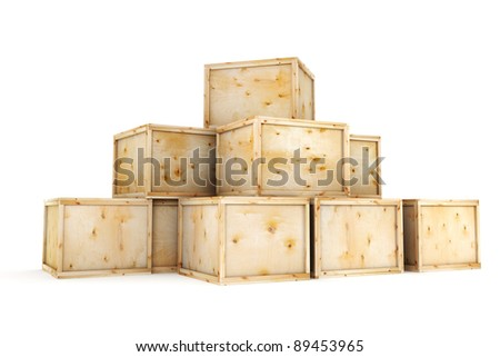 Wooden crates isolated on white background - stock photo