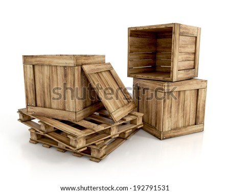 wooden crates isolated on white background. on pallets - stock photo