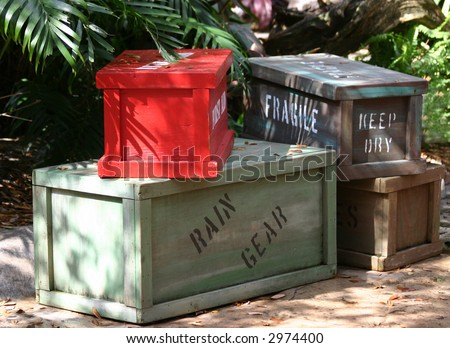 wooden crates of cargo for safari - stock photo