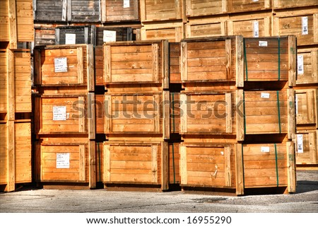 wooden crates packed for export. HDR type of image