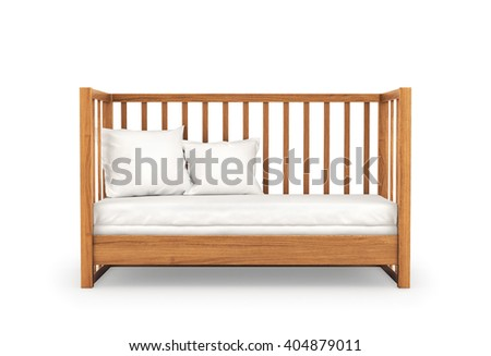 Wooden crib, isolated on white background. Front view. 3d illustration. - stock photo