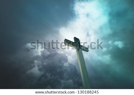 Wooden cross 1 - stock photo