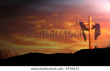 wooden cross against sunrise clouds - stock photo