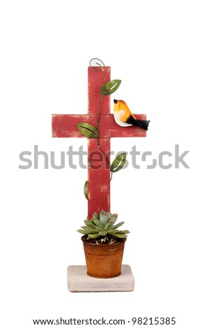 Wooden Cross Cactus plant - stock photo