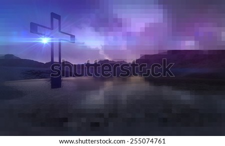 Wooden cross in night made in 3d software - stock photo