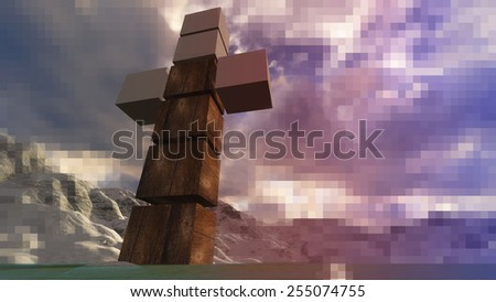 Wooden cross in water made in 3d software - stock photo