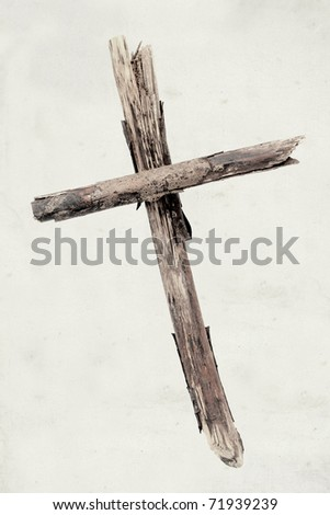 wooden cross isolated on vintage background