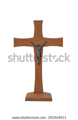 Wooden cross isolated on white background