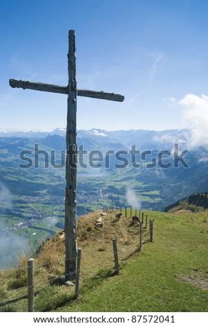 Wooden Cross on top of Mount Rigi, Switzerland - stock photo