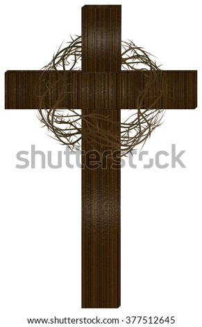 Wooden cross with a crown of thorns. Lent season, Passion of Christ, Holy Week or Easter illustration. - stock photo