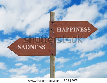 wooden crossroad sign on cloudy background with happiness vs sadness writing - stock photo