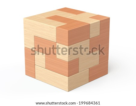 Wooden cube brain teaser game on a white background - stock photo