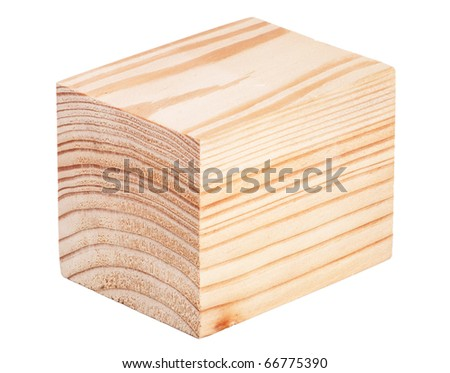 Wooden cube isolated on white background - stock photo