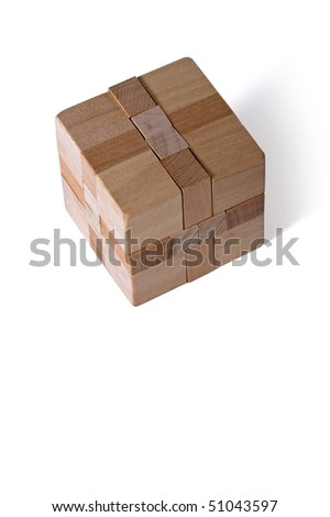 Wooden cube puzzle, white background. Clipping path included. - stock photo