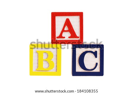 Wooden cubes ABC isolated on white background - stock photo