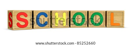 wooden cubes that form the word: SCHOOL (3d render) - stock photo