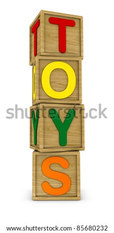 wooden cubes that form the word: TOYS (3d render)