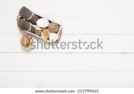 Wooden Cup with sea salt, the view from the top - stock photo
