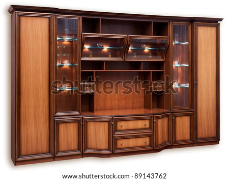 Wooden cupboard with glass doors. Isolated on white - stock photo