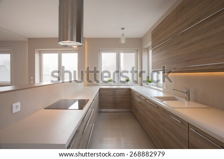 Wooden cupboards in beige kitchen in traditional style - stock photo
