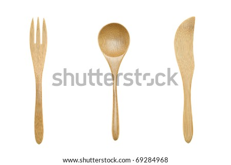 Wooden cutlery, fork, spoon, knife - stock photo