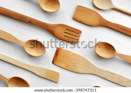 Kitchen Utensils Border border wooden kitchen utensils on white stock photo 130235564
