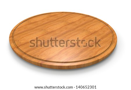 Wooden cutting board for pizza - stock photo
