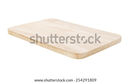 Wooden cutting board isolated - stock photo