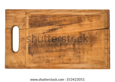 Wooden cutting board isolated on white - stock photo