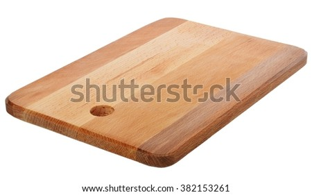 Wooden cutting board - studio shot - stock photo