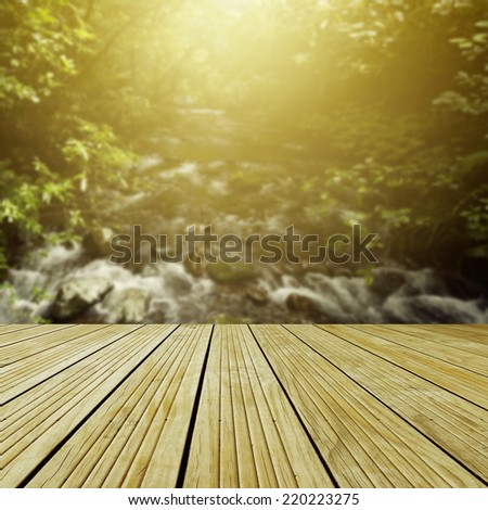 Wooden deck in front of forest scene - stock photo