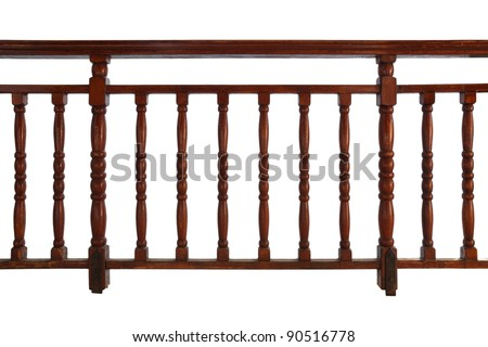 wooden decorative railing isolated on white background - stock photo