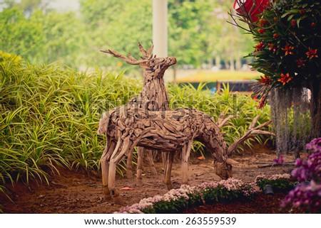 Wooden Deer - stock photo