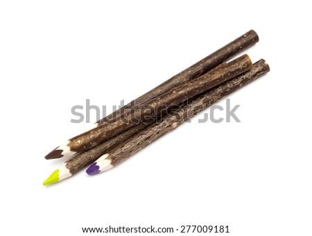 Wooden design of multiple colour pencils - stock photo