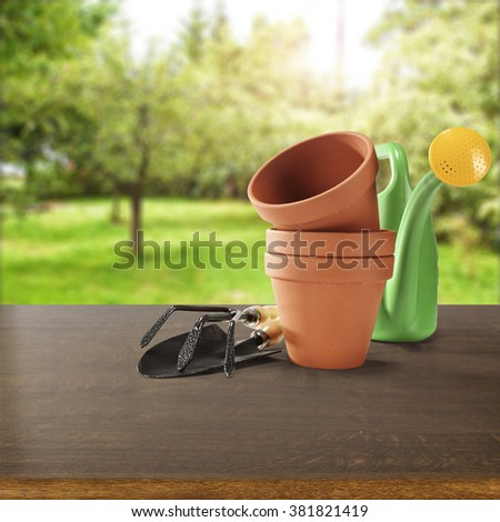 wooden desk and decoration of garden and sun light