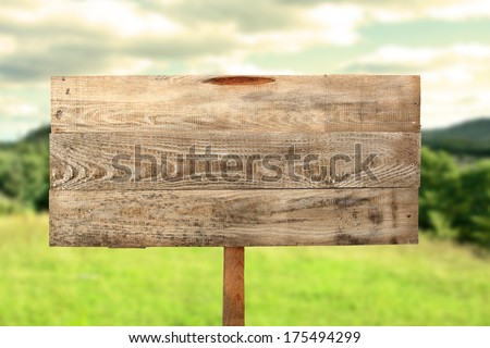 wooden desk and forest of sign  - stock photo