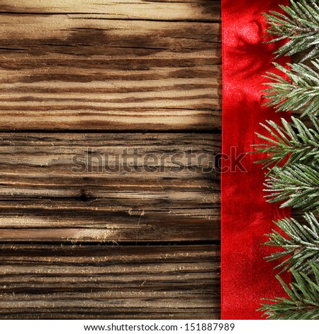 wooden desk and green tree  - stock photo