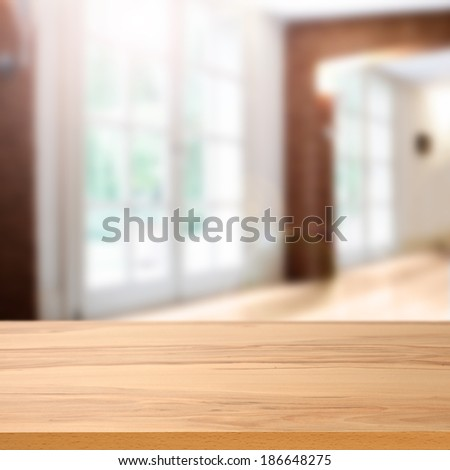 wooden desk and window  - stock photo