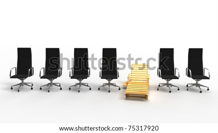 Wooden desk chair among aligned office chairs isolated on white background - stock photo