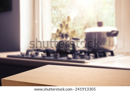 wooden desk space  - stock photo