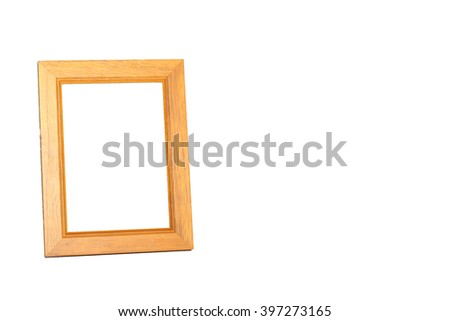 wooden desktop picture frame isolated on white.Clipping path