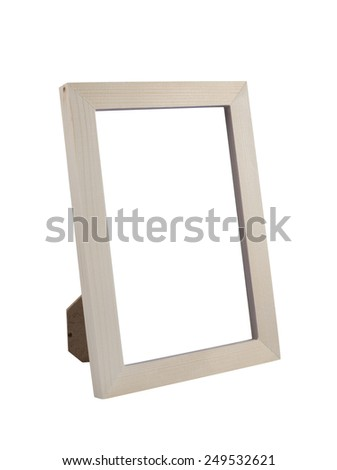 Wooden Desktop Picture (Photo) Frame isolated on white background with clipping path - stock photo