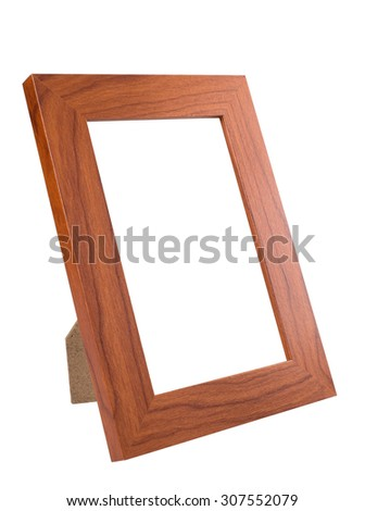 Wooden Desktop Picture (Photo) Frame isolated on white background with clipping path