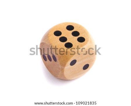 Wooden dice for board game isolated on white background - stock photo